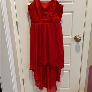 red strapless high low dress